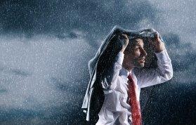 man in the rain